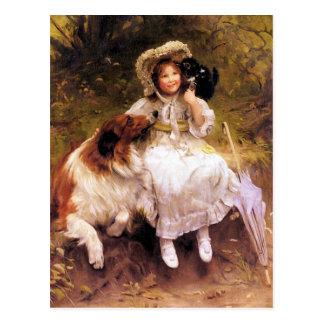 Postal Perro chica y gato del collie