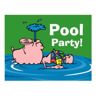 Postal personalizada fiesta en la piscina guarra