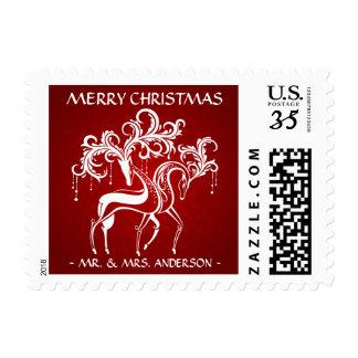 Postal personalizada reno elegante del navidad estampilla