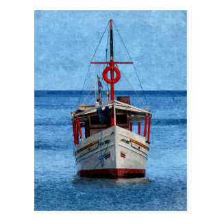 Postal pintada de la vertical del barco de la isla