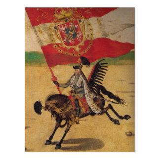 Postal polaca de la bandera del vintage