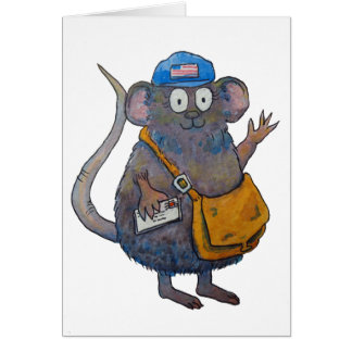 Postal Post Mail Carrier Postman Thank You Mouse Greeting Card
