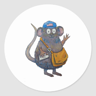 Postal Post Mail Carrier Postman Thank You Mouse Classic Round Sticker