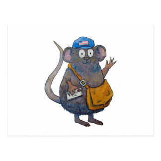 Postal Post Mail Carrier Postman Thank You Mouse Postcard