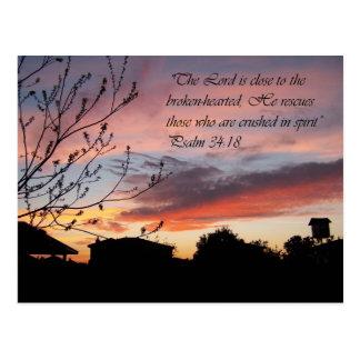 Postal preciosa del estímulo de la puesta del sol