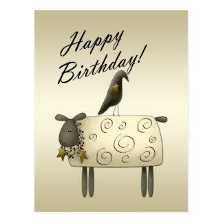 Postal primitiva del cumpleaños del cuervo y de la