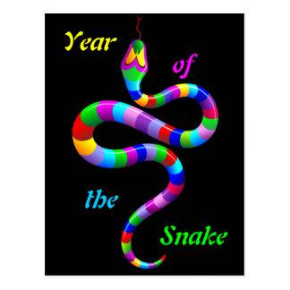Postal psicodélica del arco iris de la serpiente