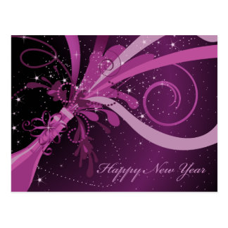 Postal púrpura de Champán de la Feliz Año Nuevo