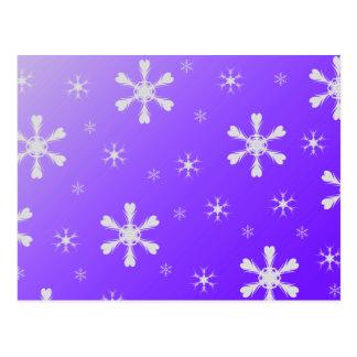 Postal púrpura de los copos de nieve