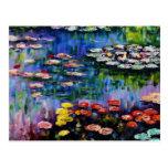 Postal púrpura de los lirios de agua de Monet