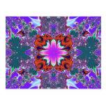 Postal púrpura de lujo del fractal
