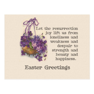 Postal púrpura de Pascua de la cesta del guisante