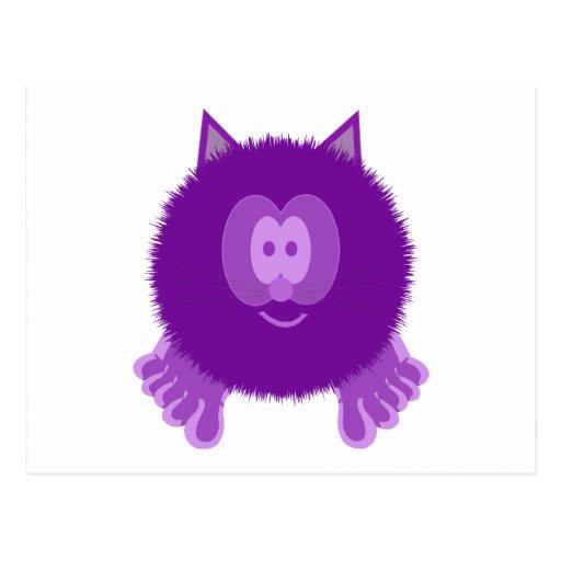 Postal púrpura de Pom Pom PAL del gato