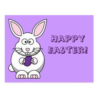 Postal púrpura del conejito del huevo de Pascua
