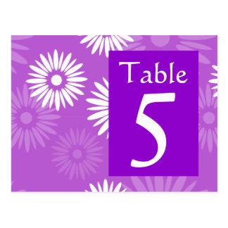 Postal púrpura del número de la tabla de la flor d