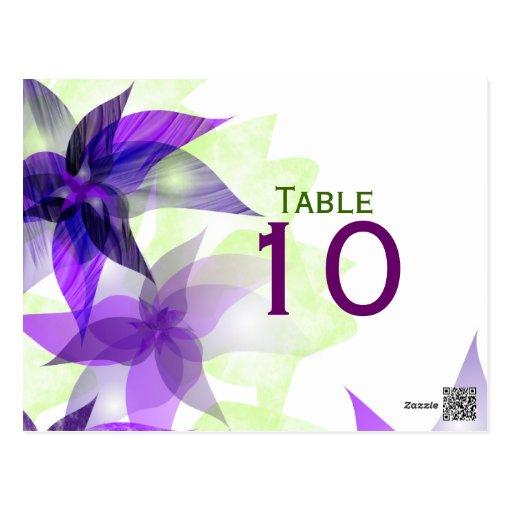 Postal púrpura del número de la tabla de las marga