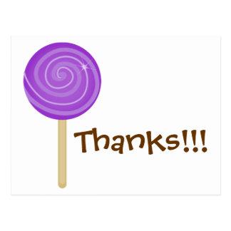 Postal púrpura dulce del Lollipop