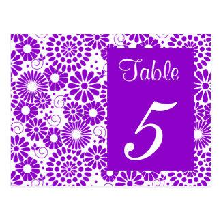 Postal púrpura floral del número de la tabla del v