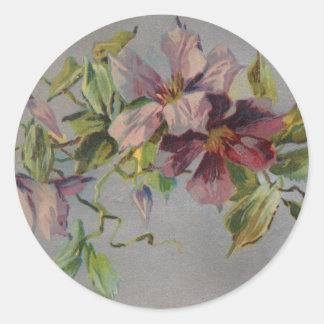Postal púrpura retra del iris del vintage pegatina redonda