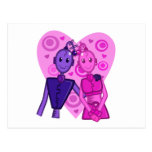 Postal púrpura rosada de los pares del robot de N