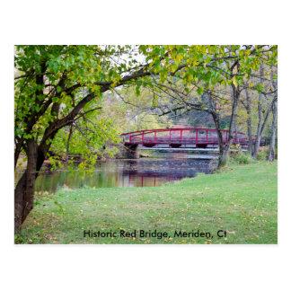 Postal que ofrece el puente rojo en Meriden