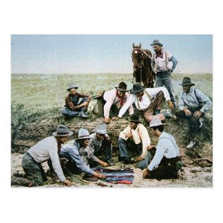 Postal que representa a los vaqueros que juegan la
