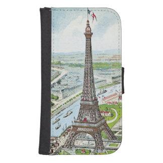 Postal que representa la torre Eiffel Billetera Para Teléfono