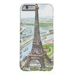 Postal que representa la torre Eiffel Funda Para iPhone 6 Barely There