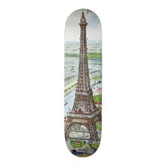 Postal que representa la torre Eiffel Tabla De Skate