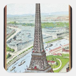 Postal que representa la torre Eiffel Pegatina Cuadrada