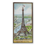 Postal que representa la torre Eiffel Póster