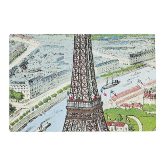 Postal que representa la torre Eiffel Tapete Individual