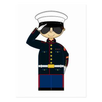 postal que saluda de US Marine Corp NCO