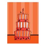 Postal rayada anaranjada de la torta de los palos