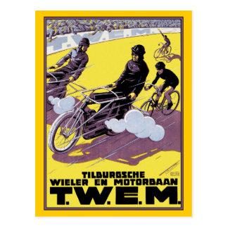 Postal Raza de la moto y de bicicleta
