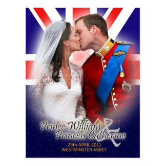 Postal real del beso del boda de Guillermo y de