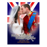 Postal real del beso del boda de Guillermo y de Ka