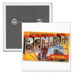 Postal retra Bemidji Paul Bunyan del kitsch del vi Pin Cuadrada 5 Cm