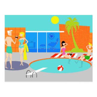 Postal retra de la fiesta en la piscina