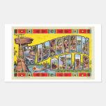 Postal retra de los Dells de Wisconsin del kitsch Pegatina Rectangular