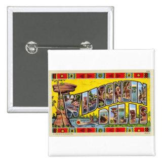 Postal retra de los Dells de Wisconsin del kitsch  Pin Cuadrado