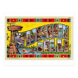 Postal retra de los Dells de Wisconsin del kitsch