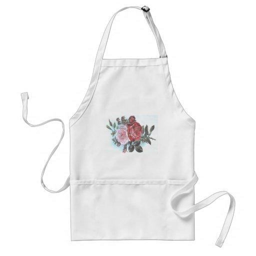 Postal retra de los rosas del vintage delantales