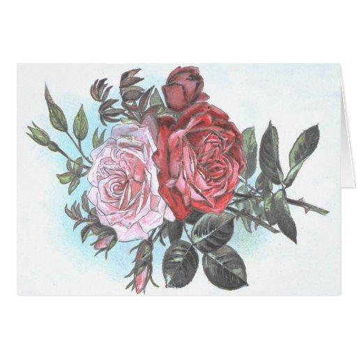 Postal retra de los rosas del vintage tarjetas