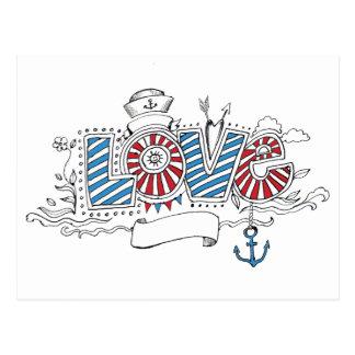 Postal retra del amor del marinero náutico