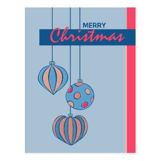 Postal retra del azul de las bolas del navidad