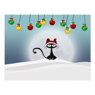 Postal retra del gato del navidad del vintage