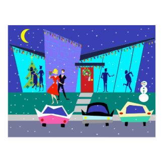 Postal retra del navidad del fiesta del dibujo