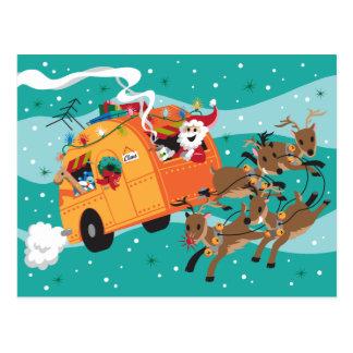 Postal retra del navidad del viaje del día de