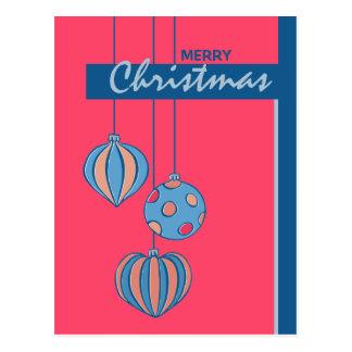 Postal retra del rojo de las bolas del navidad